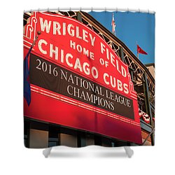 Wrigley Field Marquee Angle Shower Curtain by Steve Gadomski