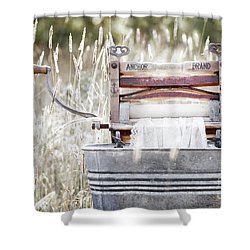 Wringer Washer - Retro Matte Shower Curtain by Angie Rea