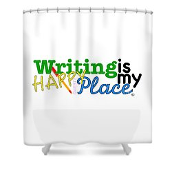Writing Is My Happy Place Shower Curtain by Shelley Overton