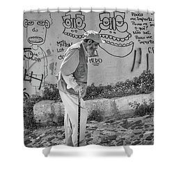 Writing On The Wall Shower Curtain by Patricia Schaefer
