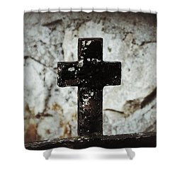 Wrought Iron Cross Against Stone Shower Curtain