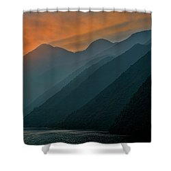 Wu Gorge Sunrise Shower Curtain