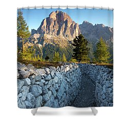 Wwi Trenches - Dolomites Shower Curtain by Brian Jannsen