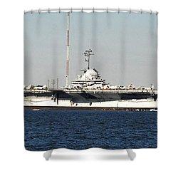 Wwii Aircraft Carrier Uss Yorktown Shower Curtain by John Black