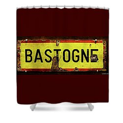 Wwii Bastogne Town Sign Shower Curtain