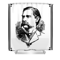 Shower Curtain featuring the mixed media Wyatt Earp Newspaper Portrait  1896 by Daniel Hagerman