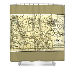 Wyoming Antique Map 1891 Shower Curtain
