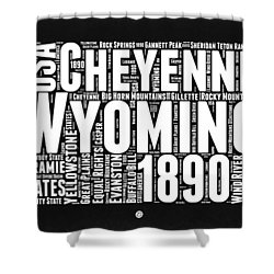 Wyoming Black And White Word Cloud Map Shower Curtain