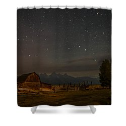 Wyoming Countryside At Night Shower Curtain by Serge Skiba