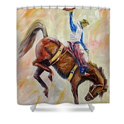 Wyoming Cowboy Shower Curtain by Jennifer Godshalk