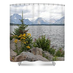 Wyoming Mountains Shower Curtain by Diane Bohna