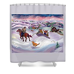 Wyoming Ranch Fun In The Snow Shower Curtain by Dawn Senior-Trask
