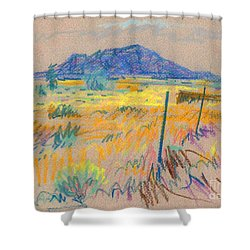 Shower Curtain featuring the painting Wyoming Roadside by Donald Maier