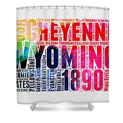 Wyoming Watercolor Word Cloud Map Shower Curtain