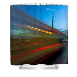 Wzzzz... Swietokrzyski Bridge In Warsaw At Blue Hour Shower Curtain