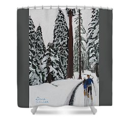 X-c Skiing In The Ca Redwoods 14 Years Ago Shower Curtain