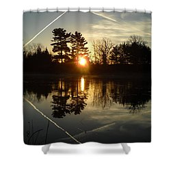 X Marks The Spot Sunrise Reflection Shower Curtain