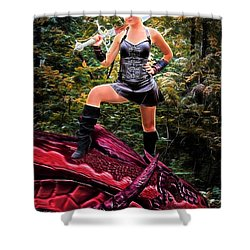 Xena Meets Dragon Shower Curtain