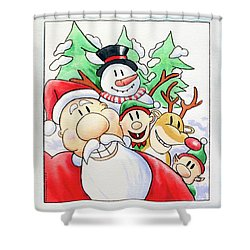 Santa's Xmas Selfie Shower Curtain