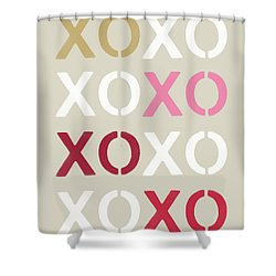 Shower Curtain featuring the mixed media Xoxo- Art By Linda Woods by Linda Woods