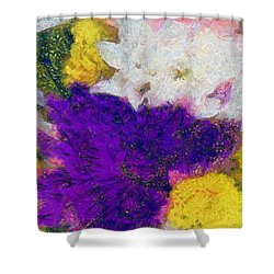 Xtreme Floral Eleven Purple And White Shower Curtain
