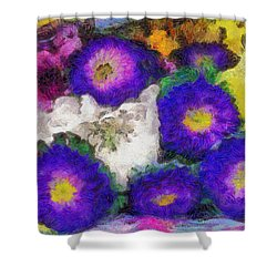 Xtreme Floral Fifteen Chillin' With The Purple Family Shower Curtain