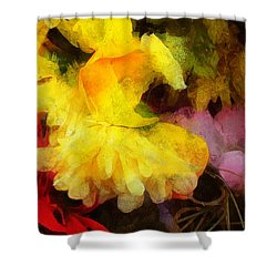 Xtreme Floral 18 Yellow Unfolding Shower Curtain