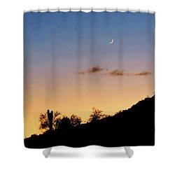Y Cactus Sunset Moonrise Shower Curtain