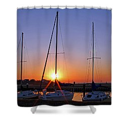 Shower Curtain featuring the photograph Yacht Club Sunrise by Judy Vincent