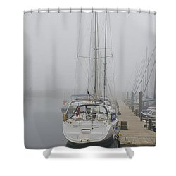 Yacht Doesn't Go In The Fog Shower Curtain