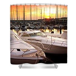 Yacht Marina Shower Curtain by Carlos Caetano