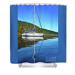 Shower Curtain featuring the photograph Yacht Reflecting By Kaye Menner by Kaye Menner