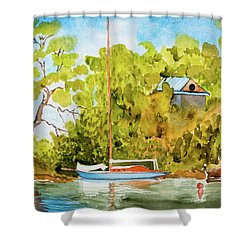 Yacht Weene' In Barnes Bay  Shower Curtain