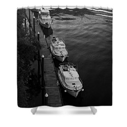 Yachts At Dock Shower Curtain