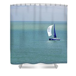 Yachts Sailing In Ventnor Bay Shower Curtain by Rod Johnson