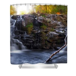 Yacolt Falls In Autumn Shower Curtain by David Gn