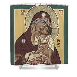 Shower Curtain featuring the painting Yakhrom Icon Of The Mother Of God 258 by William Hart McNichols