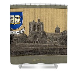Yale University Building With Crest Shower Curtain by Serge Averbukh