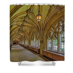 Shower Curtain featuring the photograph Yale University Cloister Hallway II  by Susan Candelario