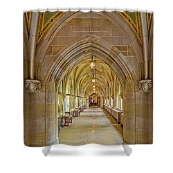 Shower Curtain featuring the photograph Yale University Cloister Hallway by Susan Candelario