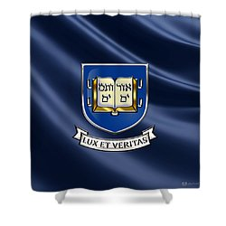 Yale University Coat Of Arms.  Shower Curtain by Serge Averbukh