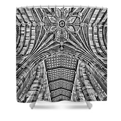 Shower Curtain featuring the photograph Yale University Sterling Library Bw by Susan Candelario