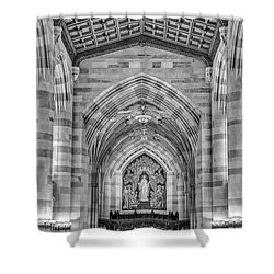 Shower Curtain featuring the photograph Yale University Sterling Memorial Library Bw  by Susan Candelario