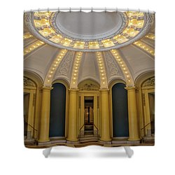 Shower Curtain featuring the photograph Yale University Woolsey Hall by Susan Candelario