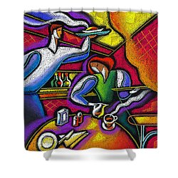 Shower Curtain featuring the painting  Yam Food And Drink by Leon Zernitsky