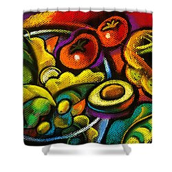 Yammy Salad Shower Curtain by Leon Zernitsky