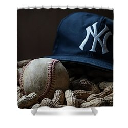 Yankee Cap Baseball And Peanuts Shower Curtain by Terry DeLuco