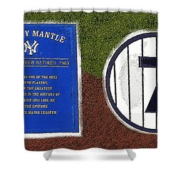 Yankee Legends Number 7 Shower Curtain by David Lee Thompson