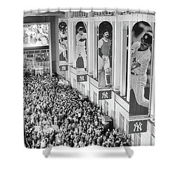 Yankee Stadium Great Hall 2009 World Series Black And White Shower Curtain