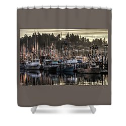 Shower Curtain featuring the photograph Yaquina Bay Boat Basin At Dawn by Thom Zehrfeld
